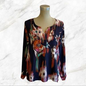 Milano | Multicoloured Floral Print Navy Blouse